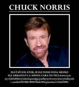 """Foto de Chuck Norris escrito""""Ele é só um a tor se fosse foda mesmo ele arrastava minh cara no teclado jsjaoisaonsaiuunefgn"""""""