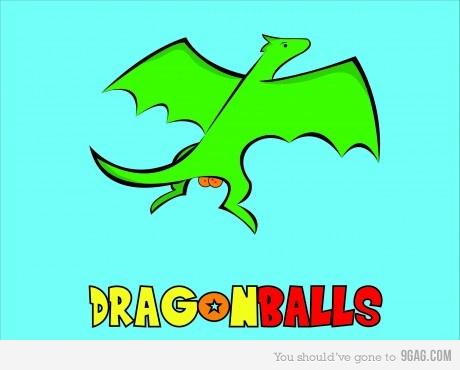 desenho mostrando um dragao de desenho animado voando, e as bolas do dragao literalmente falando. kkkk