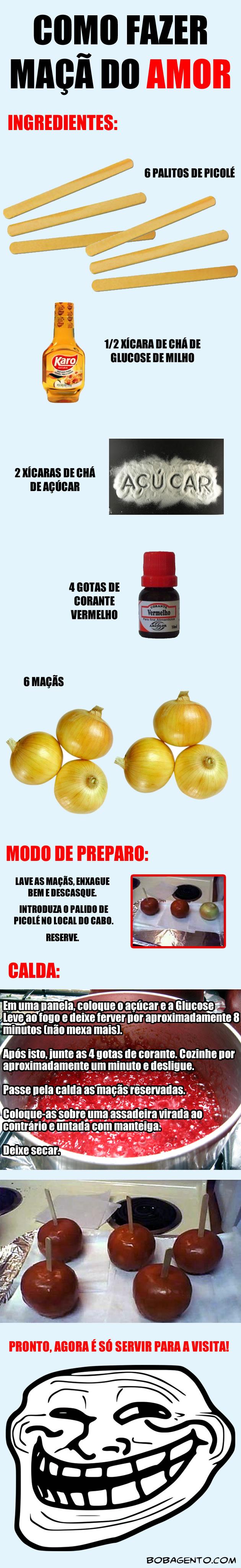 Receita de maçã do amor troll